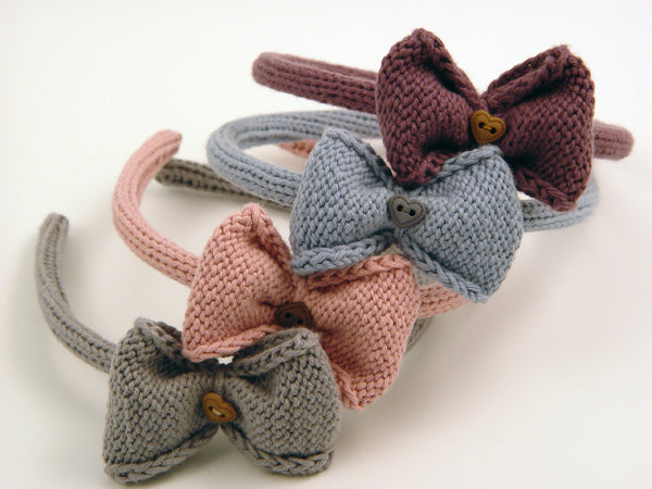 Handmade Organic Bow Hairband - Grey, Pink, Blue, Purple