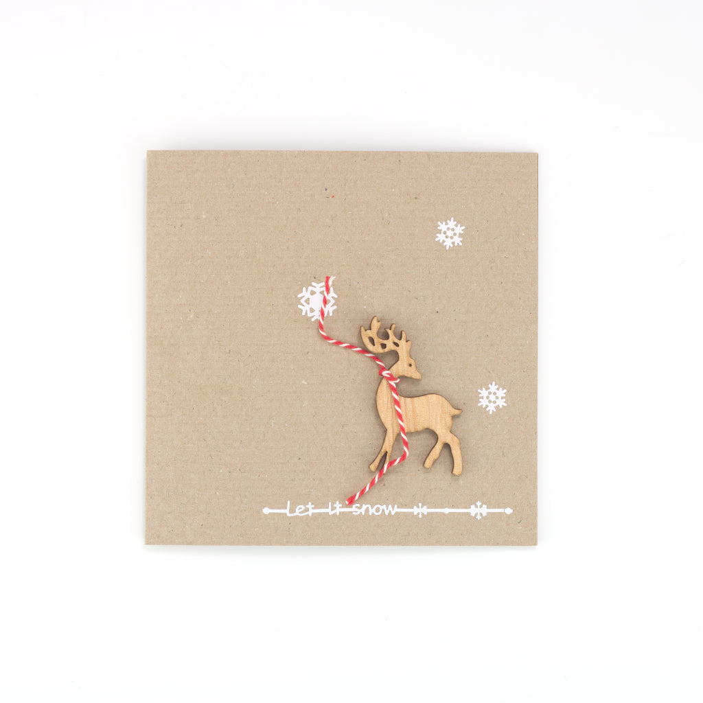 Handmade Let it Snow Card - Ribbed Brown
