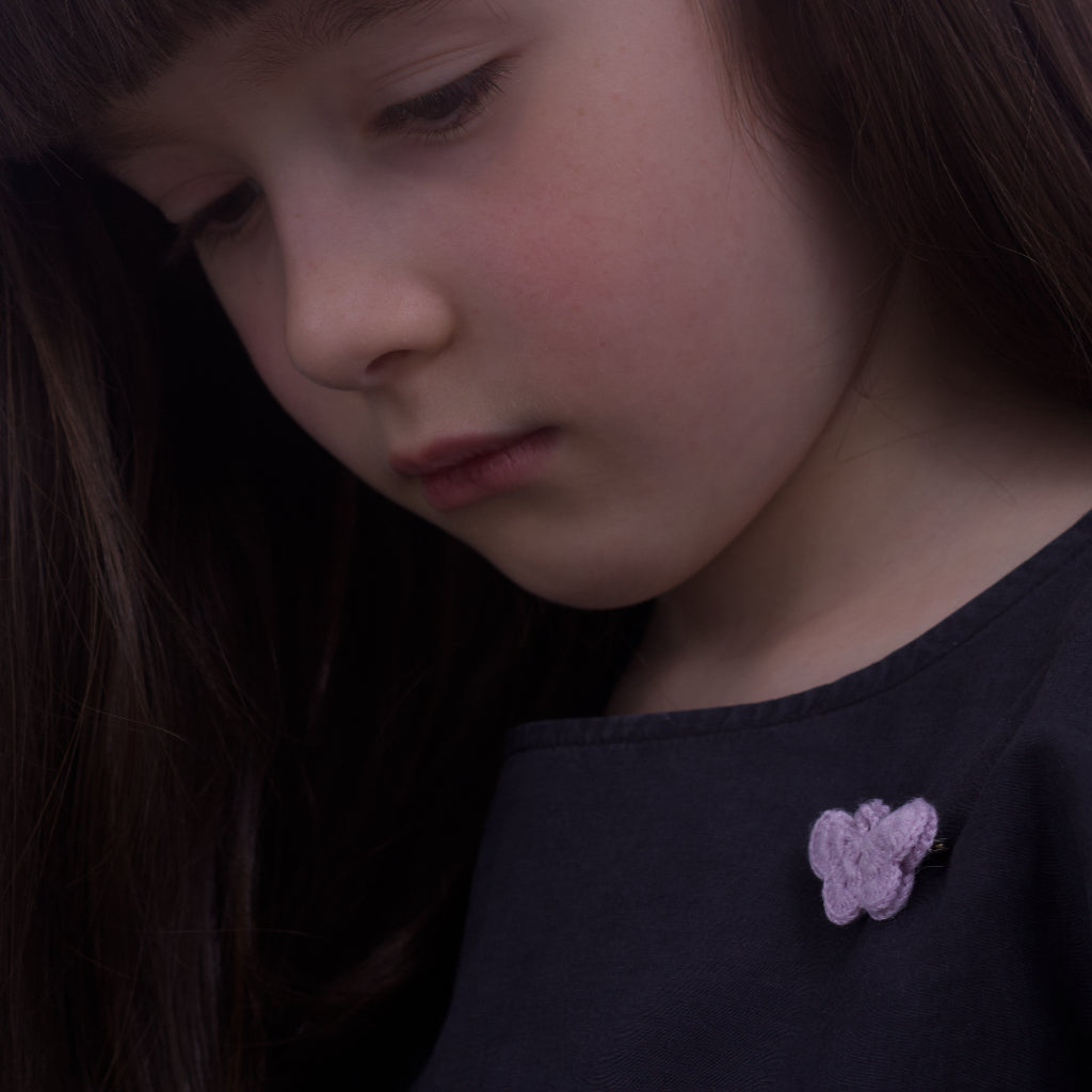 Handmade Bamboo Butterfly Brooch - Lupin (brooch on a child's dress)
