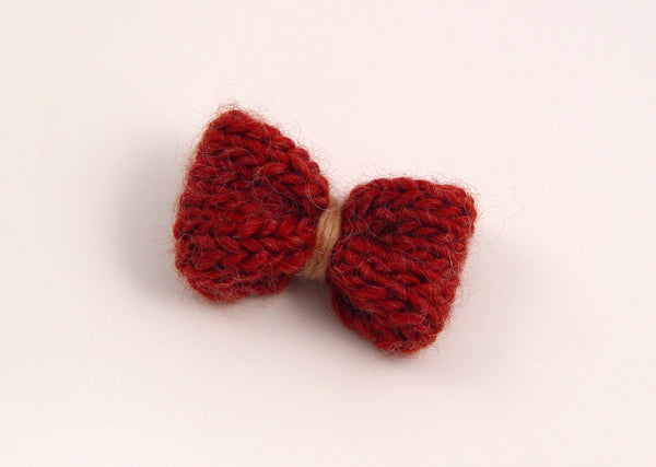 Handmade Merino Bow Hairslide - Quarry Tile