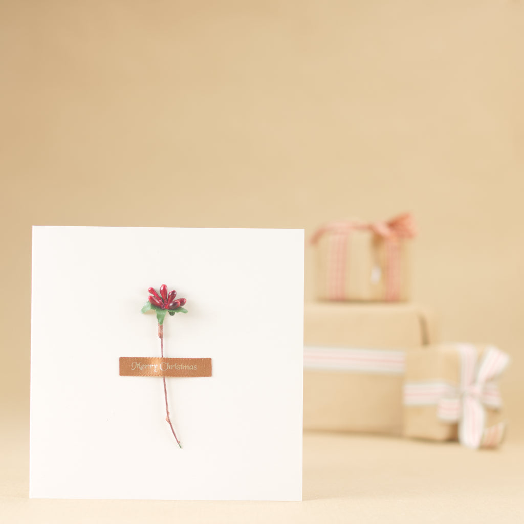 Mistletoe Kiss Card - White