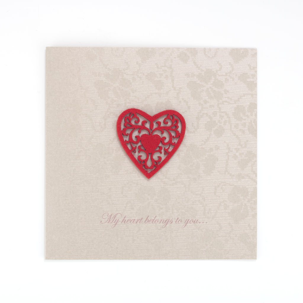 Handmade My Heart Belongs To You Card - Old Gold