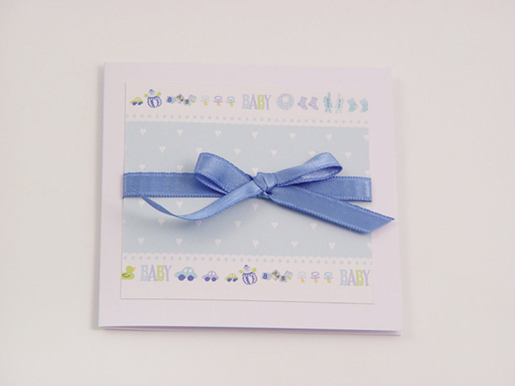Cute baby boy handmade card with baby motifs