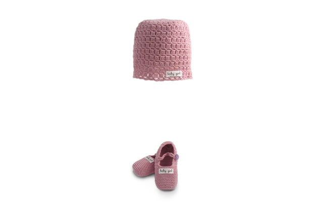 Handmade Organic Baby Girl Hat and Booties - Pink