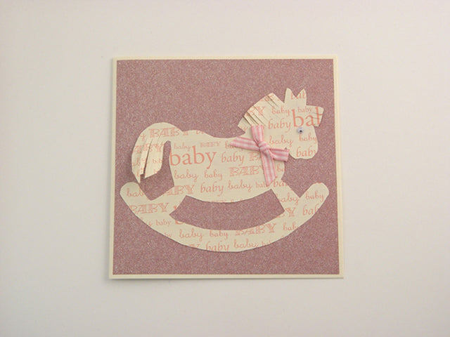 Handmade Pink Sparkly Rocking Horse Card - Cream