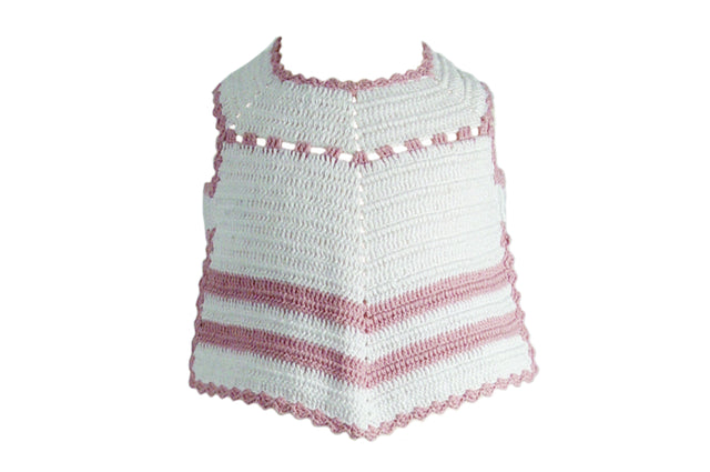 Handmade Cotton Stripy Bib - White/Pink