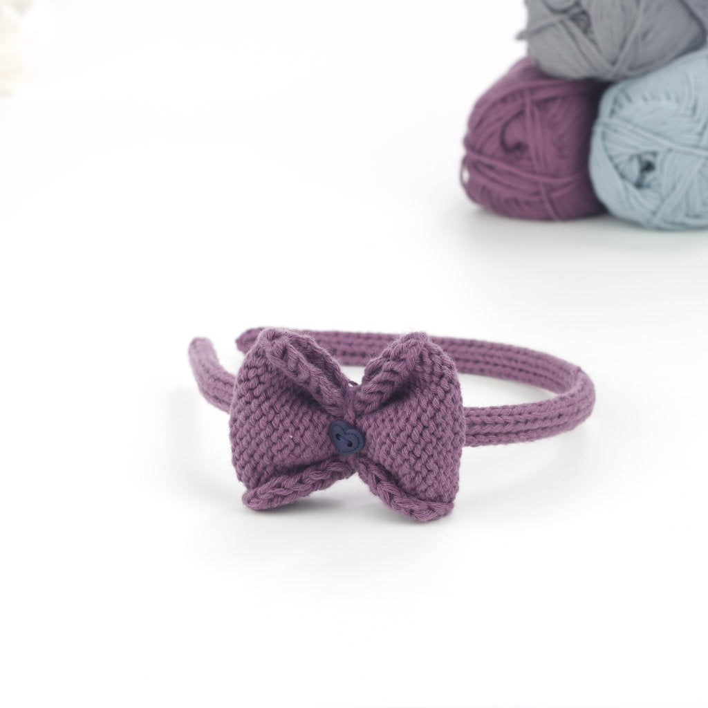 Handmade Organic Bow Hairband - Purple