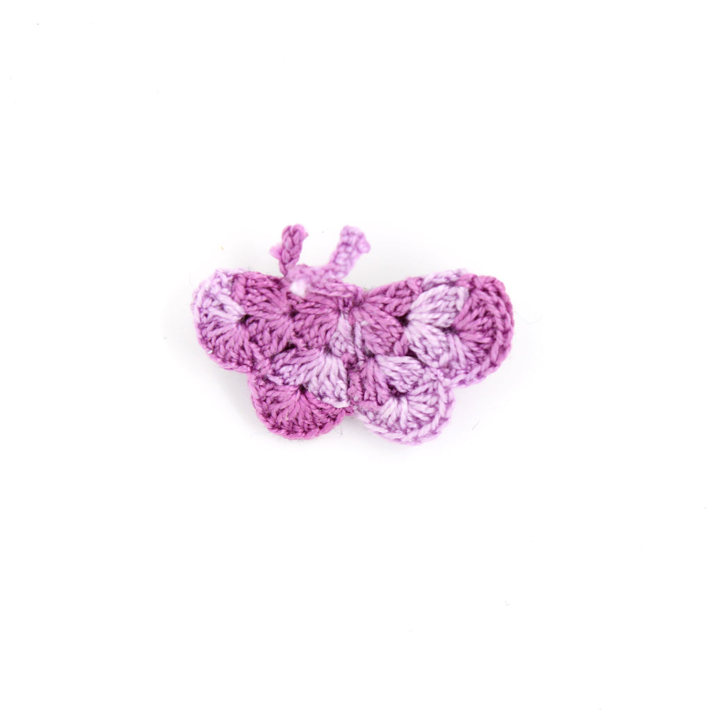 Handmade Cotton Butterfly Brooch - Purple