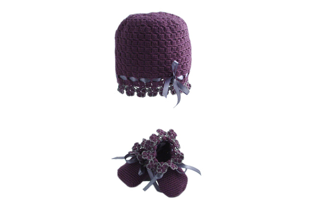 Handmade Organic Flowers Hat and Booties - Purple