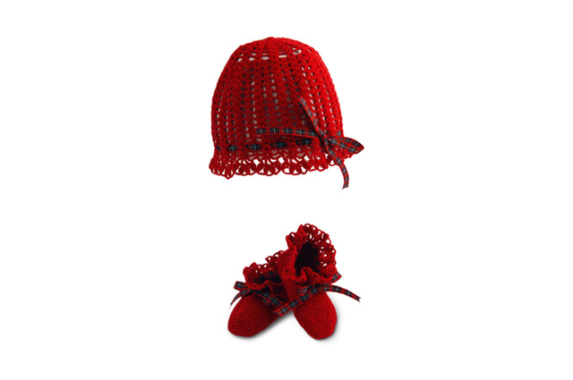 Handmade Organic Victorian Hat and Booties - Red