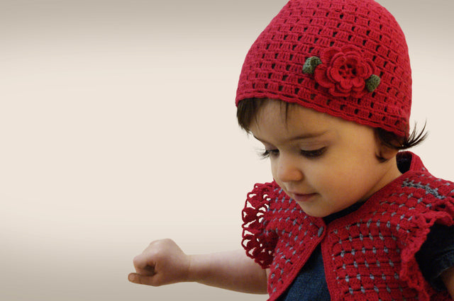 Handmade Cotton Flower Hat - Red