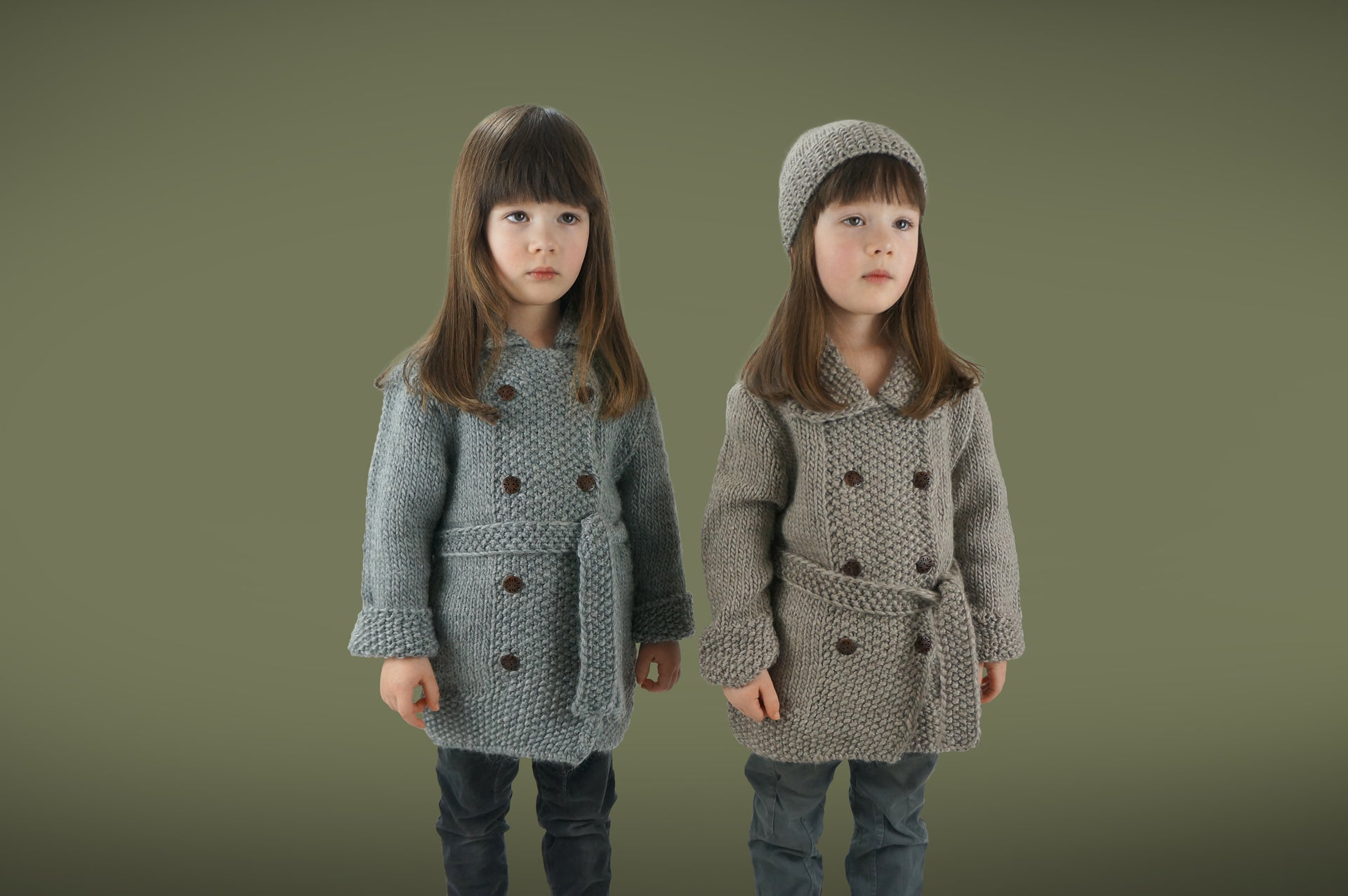 Handmade Double Moss Girl Coat - Scree