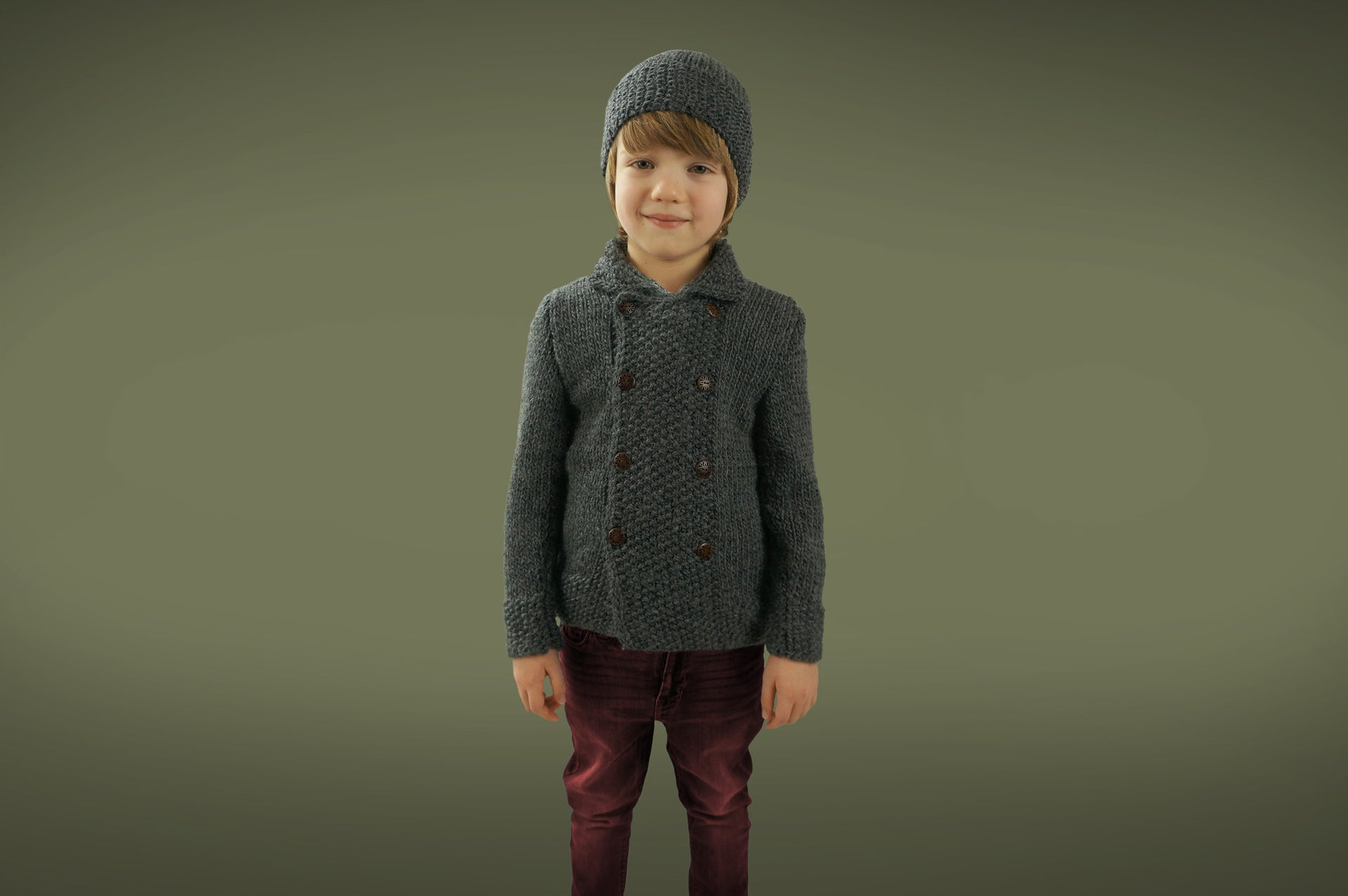 Handmade Double Moss Boy Coat - Shale