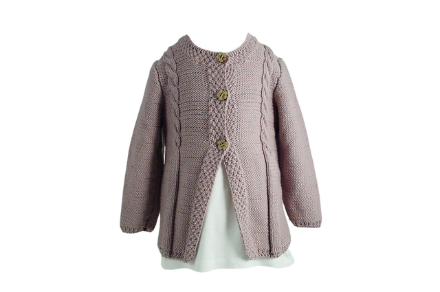 Handmade Organic Cabled Cardigan - Soft Heather