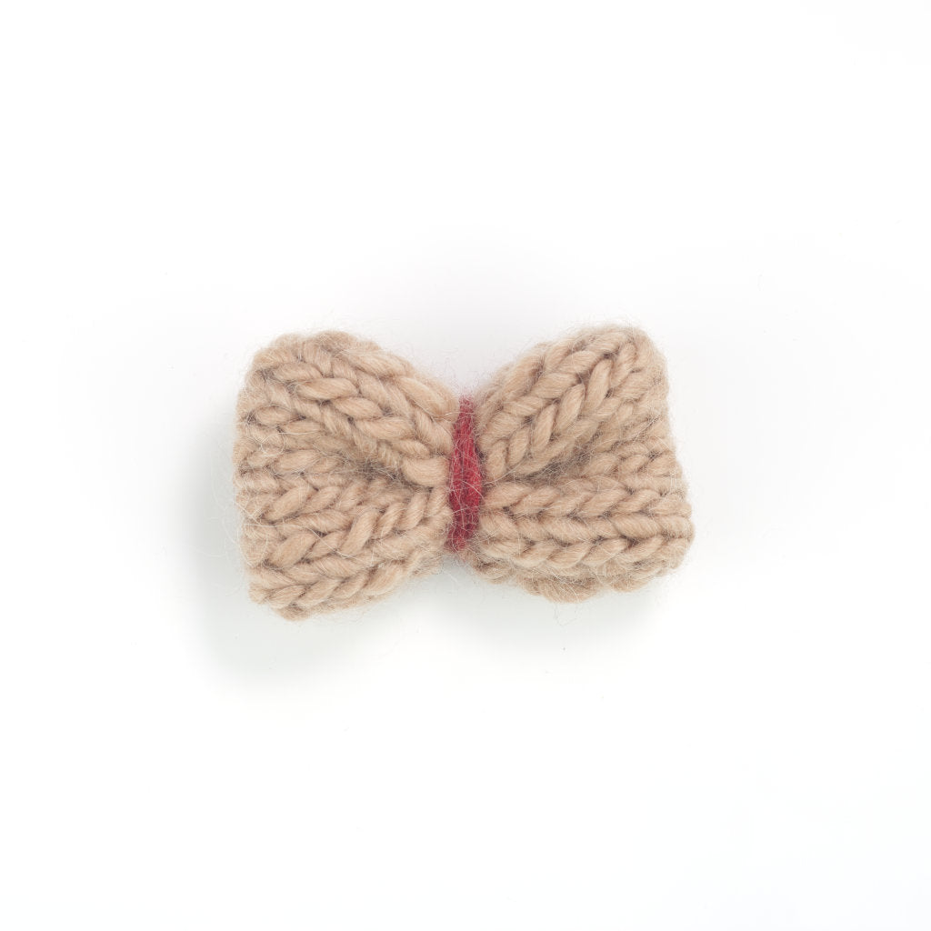 Handmade Merino Bow Hair-slide - Tarn