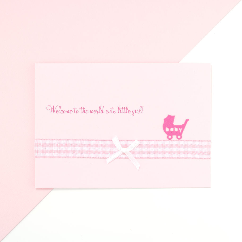 Handmade Welcome To The World Card - Pink