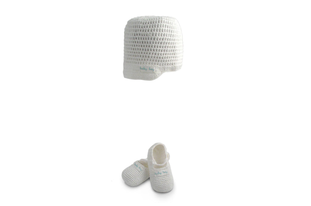 Handmade Organic Baby Boy Hat and Booties - White