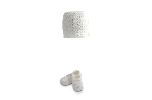 Handmade Organic Baby Girl Hat and Booties - White