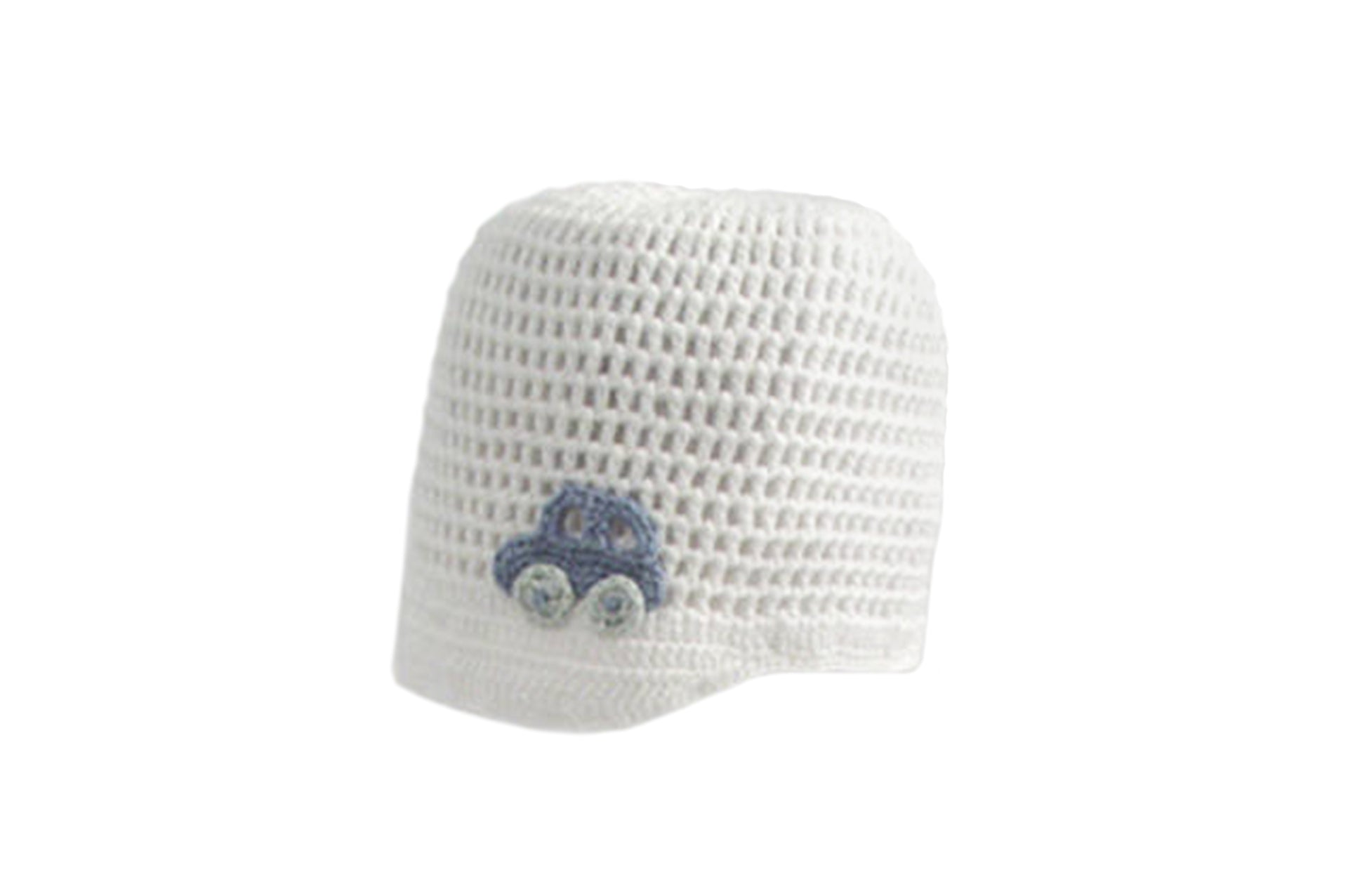Handmade Organic Car Hat - White