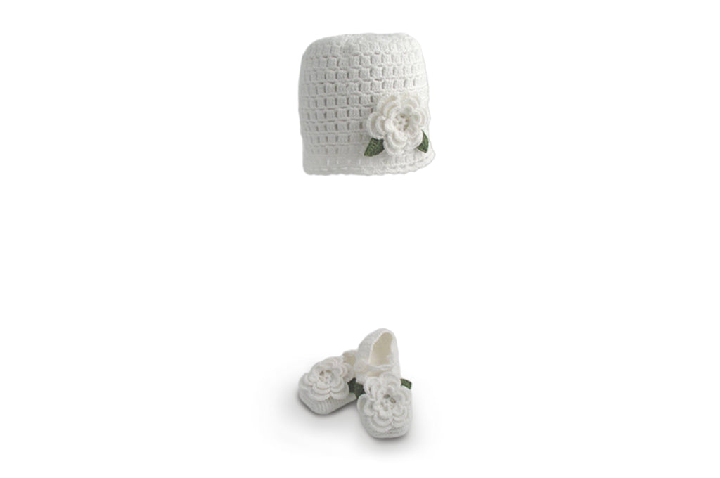 Handmade Organic Flower Hat and Booties - White