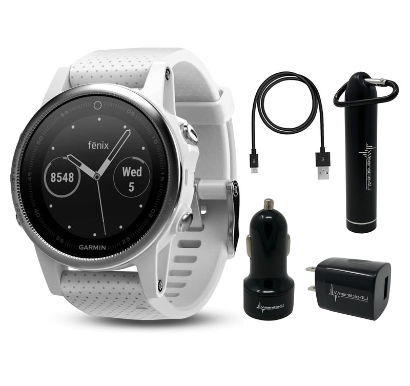 Garmin Fenix 5S Premium Multisport GPS Watch with Maps, Music and Contactless Payments and Wearable4U Ultimate Power Pack Bundle (White with Carrara White Band, Watch)