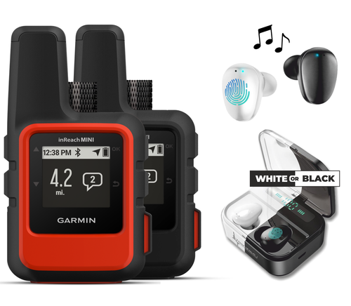 Garmin InReach Mini, Lightweight and Compact Handheld Iridium Satellite Communicator and Wearable4U Black Earbuds Ultimate Charging Power Bank Case Bundle