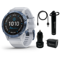 Garmin Fenix 6 Pro Solar Premium Multisport GPS Watches with Wearable4U Bundle (Earbuds or Power Pack)
