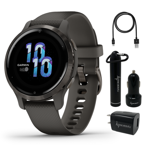 Garmin Venu 2S GPS Sport Fitness Smartwatch, AMOLED display, Music with Wearable4U  Bundle