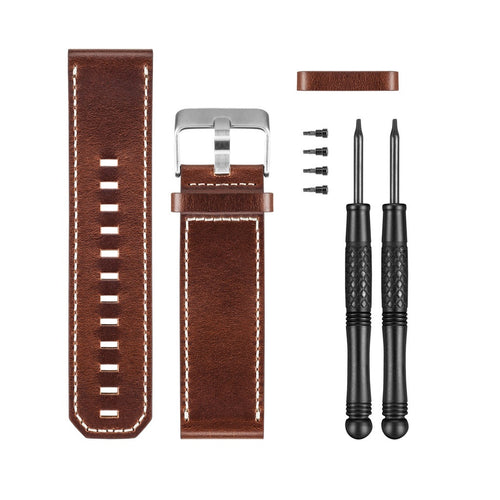 Garmin Premium Leather Replacement Watch Band for Fenix 3 and Tactix Bravo brown color