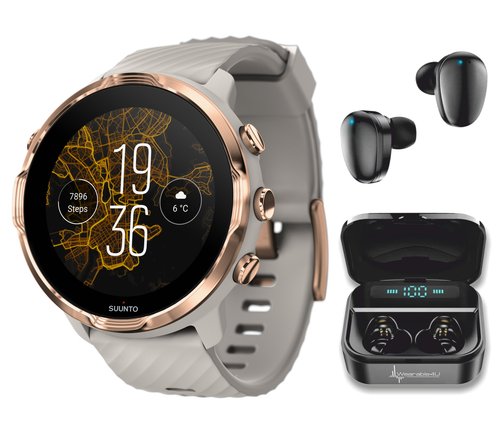 SUUNTO 7 Sandstone Rosegold GPS Sport Smartwatch with Versatile Sports Experience with Wearable4U EarBuds Power Bundle