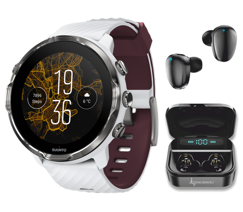 SUUNTO 7 White Burgundy GPS Smartwatch with Versatile Sports Experience with Wearable4U EarBuds Power Bundle