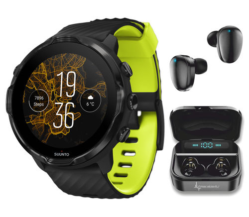 SUUNTO 7 Black Lime GPS Sports Smartwatch With Versatile Sports Experience with Wearable4U EarBuds Power Bundle