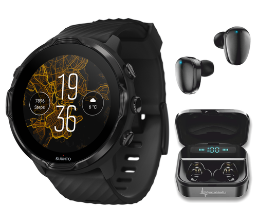 SUUNTO 7 Black GPS Smartwatch with Versatile Sports Experience with Wearable4U EarBuds Power Bundle