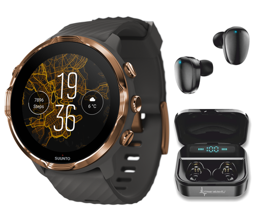SUUNTO 7 Graphite Copper GPS Smartwatch with Versatile Sports Experience with Wearable4U EarBuds Power Bundle