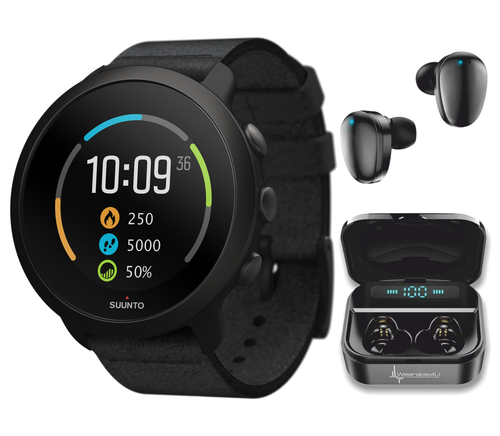 Suunto 3 Multisport Watch with Heart Rate Monitor, All Black with Wearable4U EarBuds Power Bundle