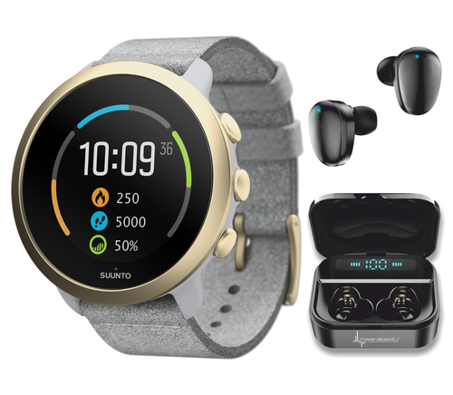 Suunto 3 Multisport Watch with Heart Rate Monitor, Pebble White Light Gold with Wearable4U EarBuds Power Bundle