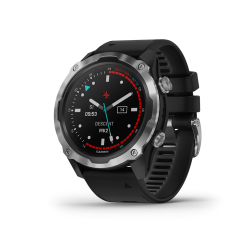 Garmin Descent Mk2 Watch-Style Dive Computer, Multisport Training/Smart Features (Stainless Steel with Black Band)