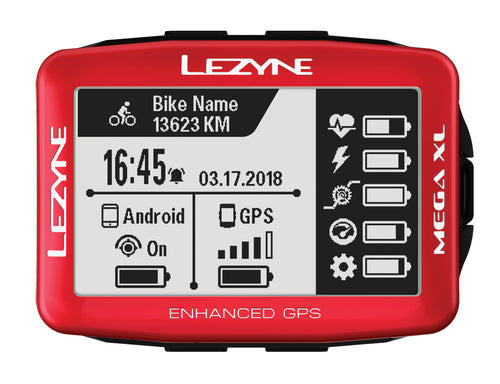 Lezyne Mega XL GPS Bike Computer, Limited Edition Metallic Red 1-GPS-MEGAXL-V115