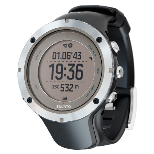 Suunto Ambit3 Peak HR GPS Multisport Watch metal color with black silicone band