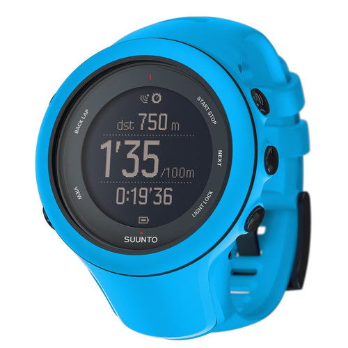 Suunto Ambit3 Sport GPS Multisport Watch blue color with blue silicone band
