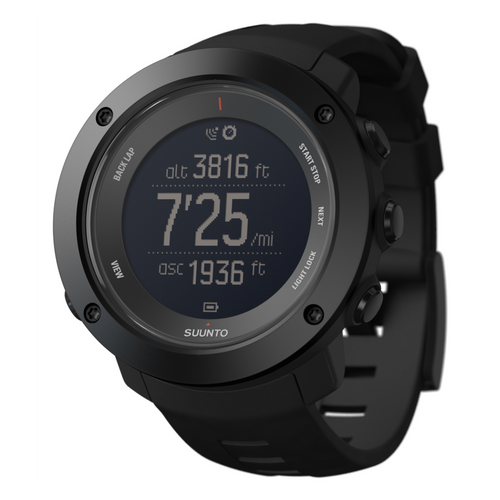 Suunto Ambit3 Vertical HR GPS Multisport Watch black with black silicone band