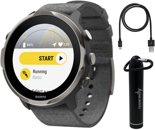 SUUNTO 7 Graphite Limited Edition GPS Smartwatch with Versatile Sports Experience with Gift Box and Wearable4U Power Bank Bundle