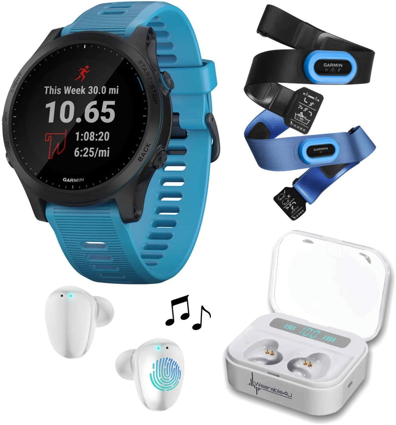 Garmin Forerunner 945 Premium GPS Running/Triathlon Smartwatch with Included Wearable4U Ultimate White EarBuds with Charging Power Bank Case Bundle (Blue, Bundle)