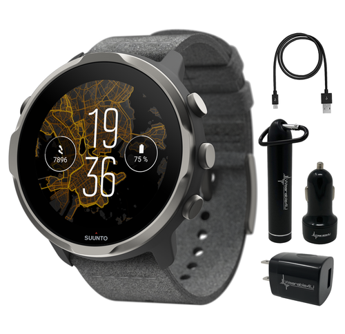 Suunto 7 Graphite Limited Edition GPS Sports Smartwatch with Gift Box with Wearable4U Power Pack Bundle