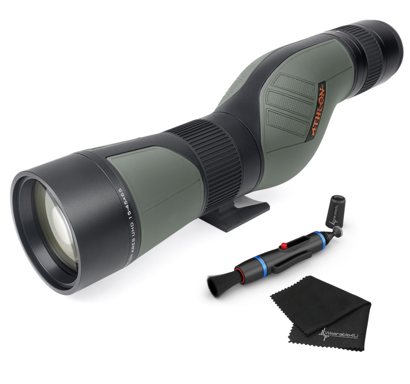 Athlon Optics Ares G2 UHD 15-45×65 – Straight Angle Spotting Scope with included Wearable4U Lens Cleaning Pen and Lens Cleaning Cloth Bundle
