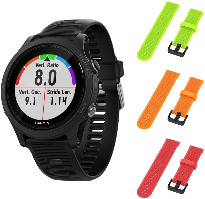 Garmin Forerunner 945 GPS Running Smartwatch with Included Wearable4U 3 Straps Bundle (Lime/Orange/Red)