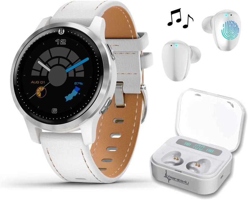 Garmin Legacy Saga Series, Star Wars Rey Inspired Premium Smartwatch, Features Jedi White Elements with Included Wearable4U Ultimate White Earbuds with Charging Power Bank Case Bundle