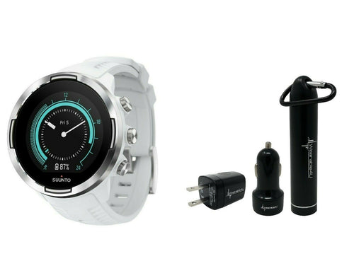 SUUNTO 9 BARO Ultra-endurance GPS watch with exceptional battery life and barometer with Wearable4U Power Pack Bundle (White)