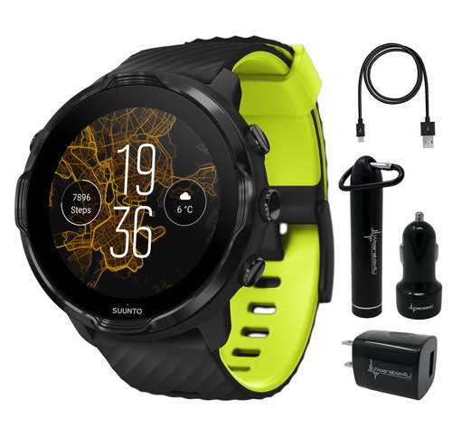 Suunto 7 Black Lime GPS Sports Smartwatch with Wearable4U Power Pack Bundle