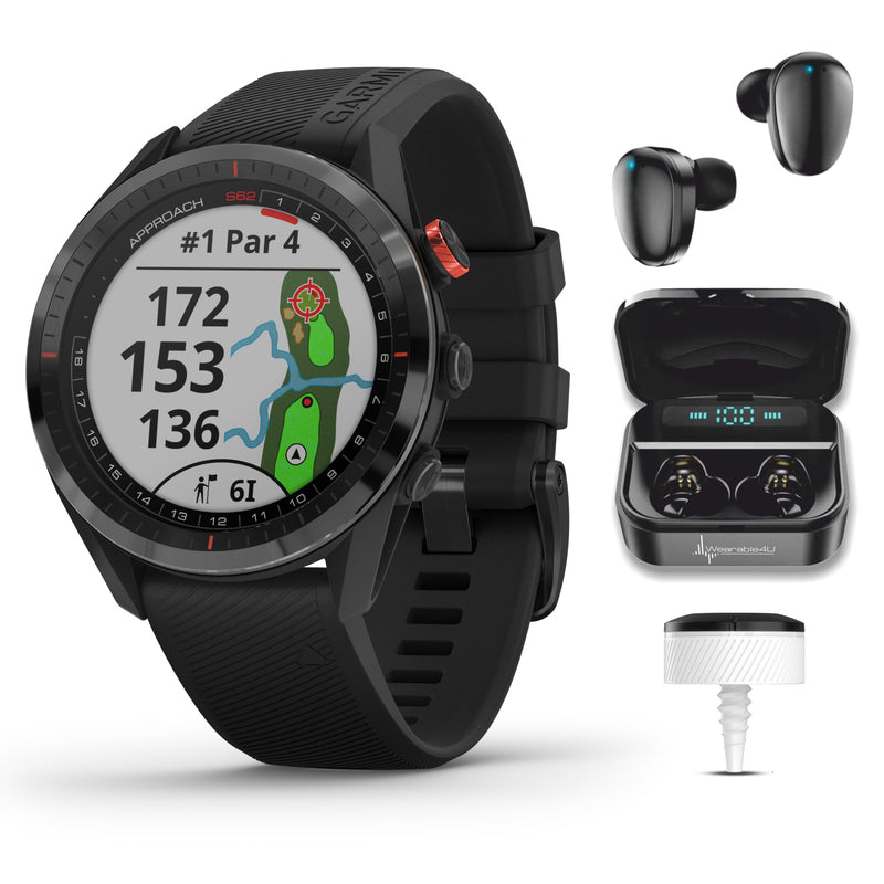 Garmin Approach S62 Premium GPS Black or White Golf Watch with Wearable4U Black or White Earbuds and Charging Power Bank Case or with 3xCT10 Bundle (May Vary)